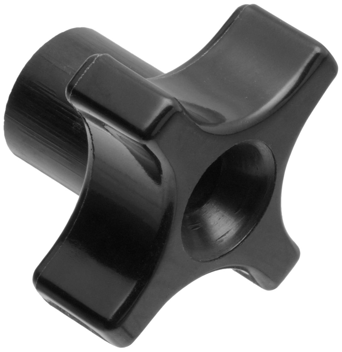 Davies Thermoplastic Four Arm knob, Flute Rim, Threaded Through Hole, 1/4''-20 Thread Size X 1/2'' Thread Length, 1-3/4'' Diameter (Pack of 5)
