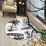 Surf Round Rug Kid Carpet Surfing Sport Surfboard Beach Van Sketch Style Artistic Monochromic IllustrationOriental Floor and Carpets Black White