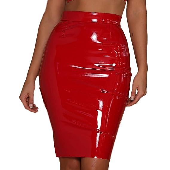 ALERDON PU Leather High Waist Back Zipper Bodycon Pencil Skirt Club Mini Dress