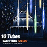 TurnRaise 30cm 10 Tubes 300 LEDs Meteor Shower Rain Lights, Drop Icicle Snow Falling Rain Light Waterproof Cascading Lights for Holiday Party Wedding Christmas Tree Decoration (Multicolor)