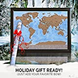 Scratch Off Laminated World Travel Map | Unique Personal Gift - XL 33 x 24in. Adventure Tracking Poster - GLOSSY Finish - Detail Cartography - Bonus eBook and Scratch Tool