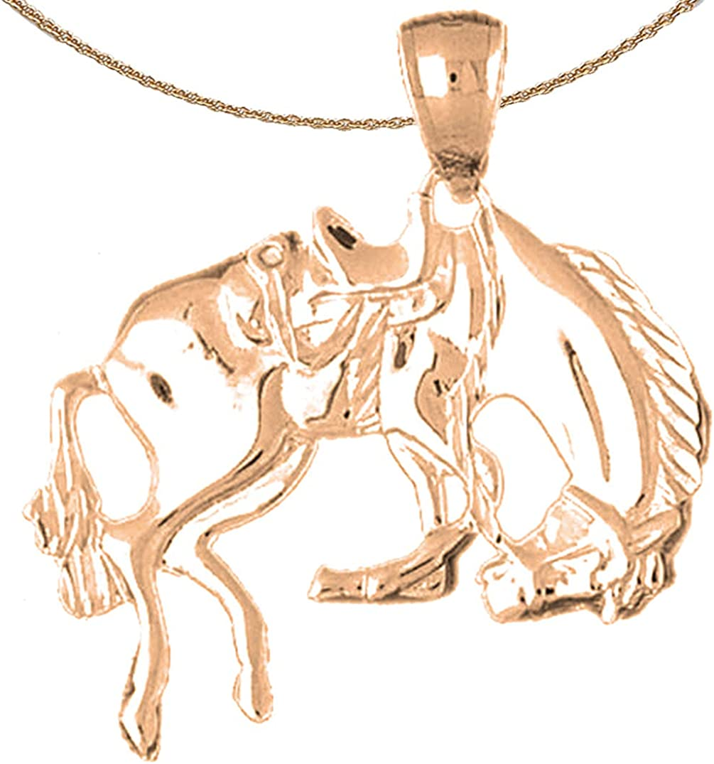 14K Rose Gold-plated 925 Silver Horse Pendant with 16 Necklace Jewels Obsession Horse Necklace
