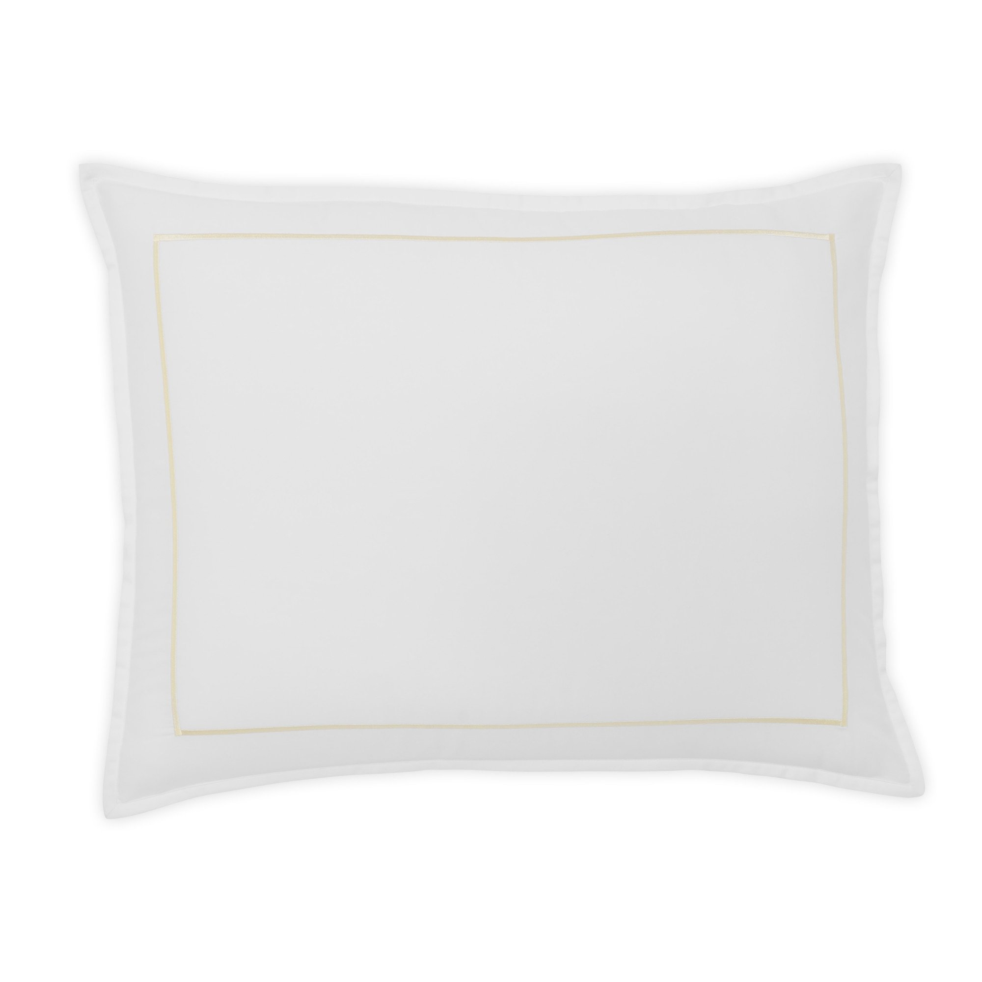 FlatIron Hotel Satin Stitch Sham, Standard, White/Ivory