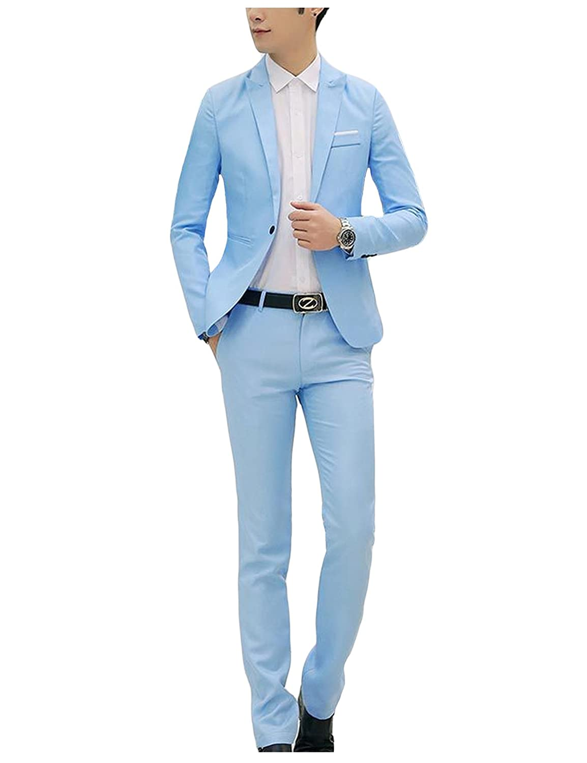 Bestgift Men's Solid Color Slim One-Button Tops Blazer and Long Pants 2-Pieces Suits BSGFNC0411