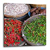 3D Rose Thailand-Chiang Mai. Thai Street Vendor of Green and Red Chilies Wall Clock, 13'' x 13''