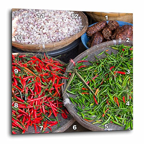 3D Rose Thailand-Chiang Mai. Thai Street Vendor of Green and Red Chilies Wall Clock, 13'' x 13'' by 3dRose