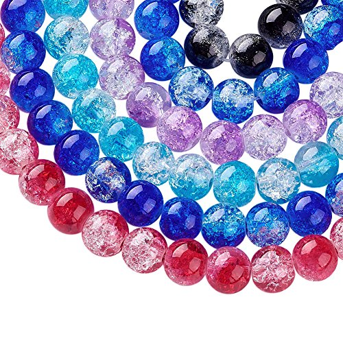 Beadthoven 20Strands Crackle Glass Beads Round Transparent Beads for Making Bracelets Necklaces Earrings Fit for Children's Day Christmas DIY Crafting About (Gorgeous Glass Strand Necklace)
