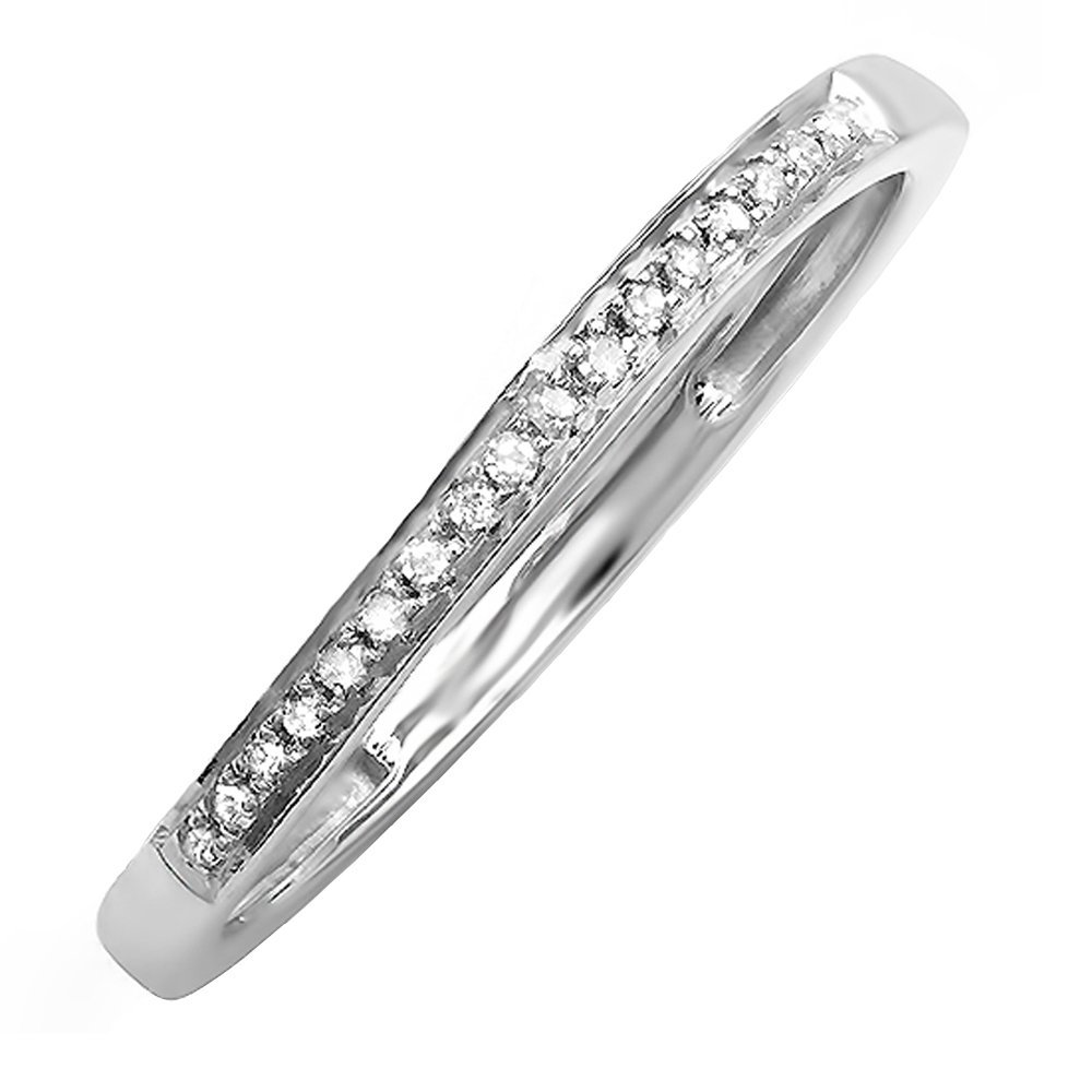 DazzlingRock Collection 0.08 Carat (ctw) Sterling Silver Round Diamond Ladies Wedding Band Stackable Ring (Size 7)