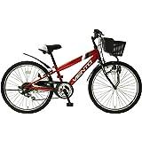 子供用自転車 24インチ ジュニアマウンテンバイク CTB シマノ6段変速ギア カゴ 鍵 ライト 泥除け チェーンカバー付き シティサイクル CTB246-RD キッズバイク こども用 男の子 女の子 TOPONE