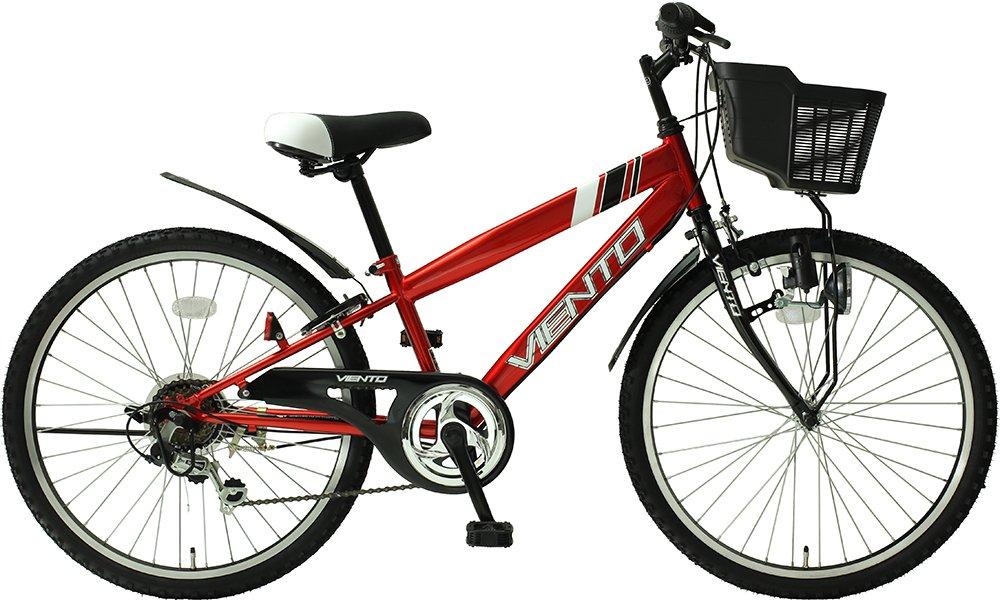 子供用自転車 24インチ ジュニアマウンテンバイク CTB シマノ6段変速ギア カゴ 鍵 ライト 泥除け チェーンカバー付き シティサイクル CTB246-RD キッズバイク こども用 男の子 女の子 TOPONE B018S69U3A