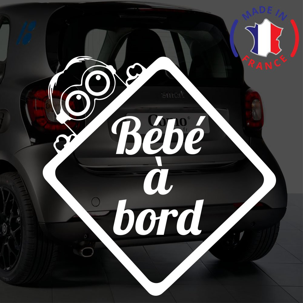 Sticker bébé à bord pour voiture Minion 20 cm Blanc - Anakiss