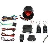 KKmoon Universal Car Vehicle Security System Burglar Alarm Protection Anti-Theft System 2 Black&Silver Remote Control