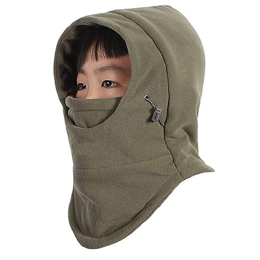 e4a12d6df24 Rgslon Children s Windproof Winter Hat Boys Girls Balaclava Adjustable Warm  Face Mask (Army Green)