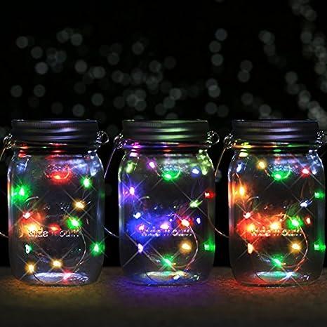 Mason Solar luz LED solar tarro lámpara, Firefly luces para jardín decoración al aire libre