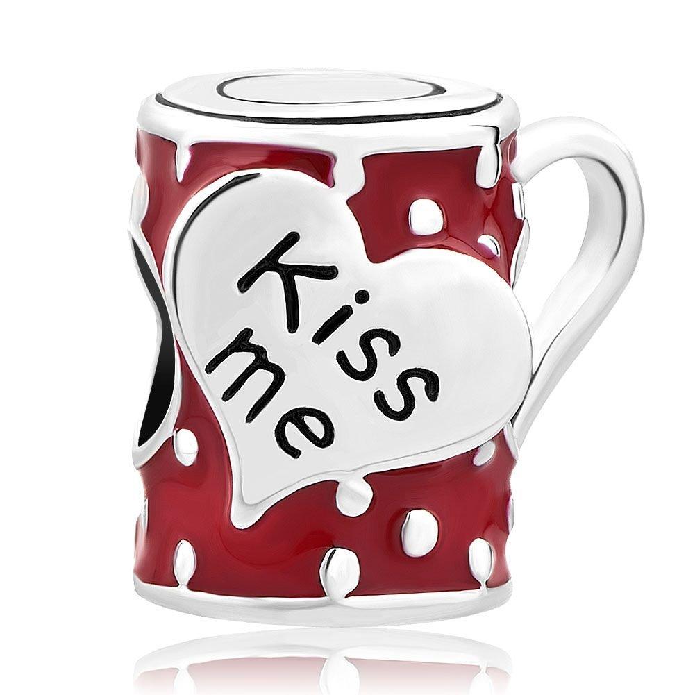 Uniqueen Ciondolo per bracciale a forma di tazza di caffè acciaio inossidabile colore: Red cod. UQ_DPC_MY859 pandöra charms