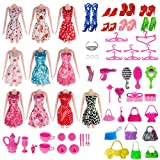 Total 120pcs -10 Pack Doll Clothes Party Gown Outfits +10pcs bags +100pcs Different Doll Accessories Shoes Glasses Necklace Tableware Mirror For Barbie Doll Girl Birthday Gift