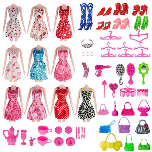 Total 120pcs -10 Pack Doll Clothes Party Gown Outfits +10pcs bags +100pcs Different Doll Accessories Shoes Glasses...