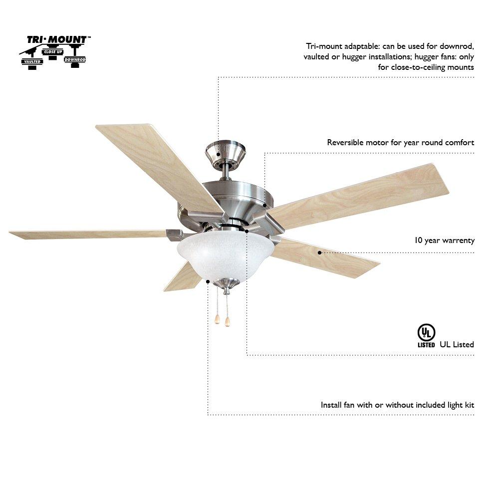Design House 152991 Atrium 1 Light Ceiling Fan 30'', White by Design House (Image #3)