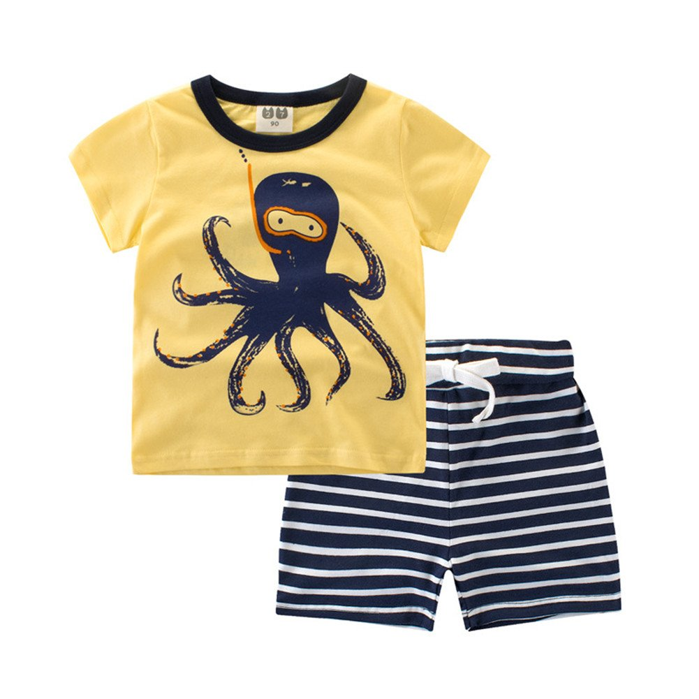 Oushiny Kids Cute Animals T-shirt/&Shorts Set Boys Two-Piece 6 Styles For 0-7