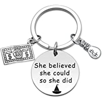 She Believe She Could So She Did Keychain Dollar and Mini US Dollar Sign Money Bag Pendant Jewelry Gifts for Accountant