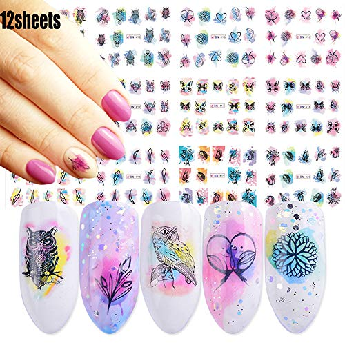 Nail Decals for Women Watercolor Nail Art Stickers 12 Sheets Self-adhesive Owl Butterfly Leaf Feather Water Transfer Papers for Female Fingernails & Toenails Decoration Manicure Wraps Nail Accessories (Deer Nail Decals)