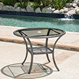 Christopher Knight Home San Pico Outdoor Wicker Dining Table Grey