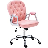 JL Comfurni Office Chair Faux Leather Armchair Swivel Adjustable Chair Home Office Computer Desk Chairs