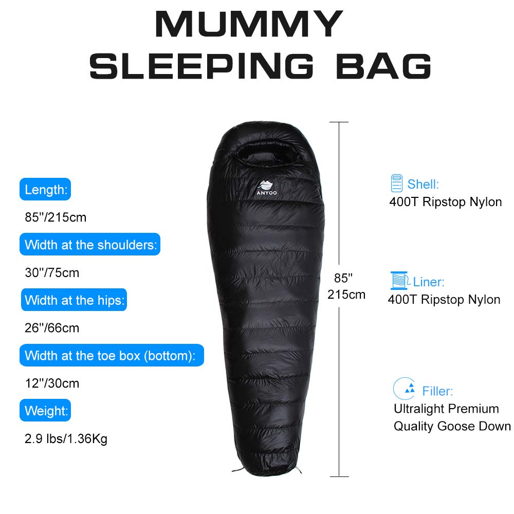 Anyoo Mummy Goose Down Sleeping Bag Ultralight Portable 3 Season for Backpacking Hiking Camping Indoor Outdoor Use for Adult