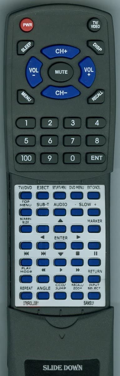 Replacement Remote Control for SANSUI SLEDVD196, SLEDVD197, 076R0LJ061, SLEDVD226B, SLEDVD244