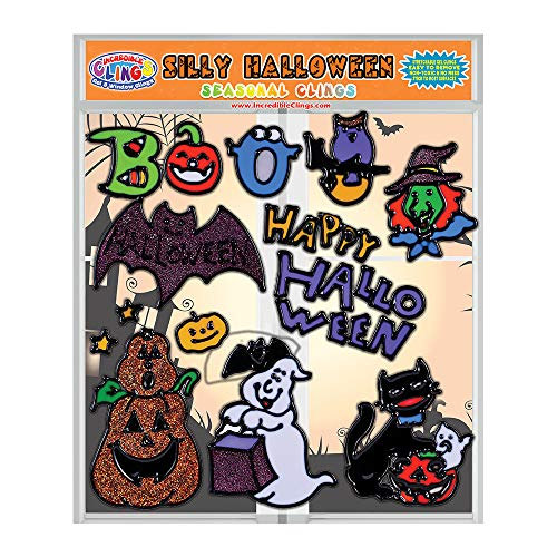 Seasonal Halloween Gel Window Clings for Kids and Toddlers (CPSC Tested Safe) – Incredible Removable and Flexible Gel Decals - Pumpkin, Owl, Boo, Cat, Ghost, Witch, Bat and More