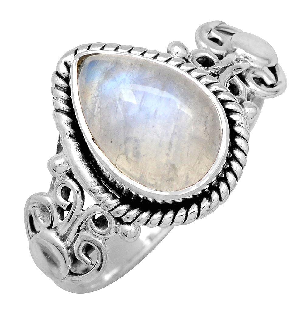 YoTreasure Rainbow Moonstone 925 Sterling Silver Gemstone Ring