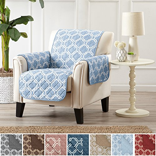 Home Fashion Designs Adalyn Collection Deluxe Reversible Quilted Furniture Protector. Beautiful Print on One Side/Solid Color on the Other for Two Fresh Looks. By Brand. (Chair, Marine Blue)