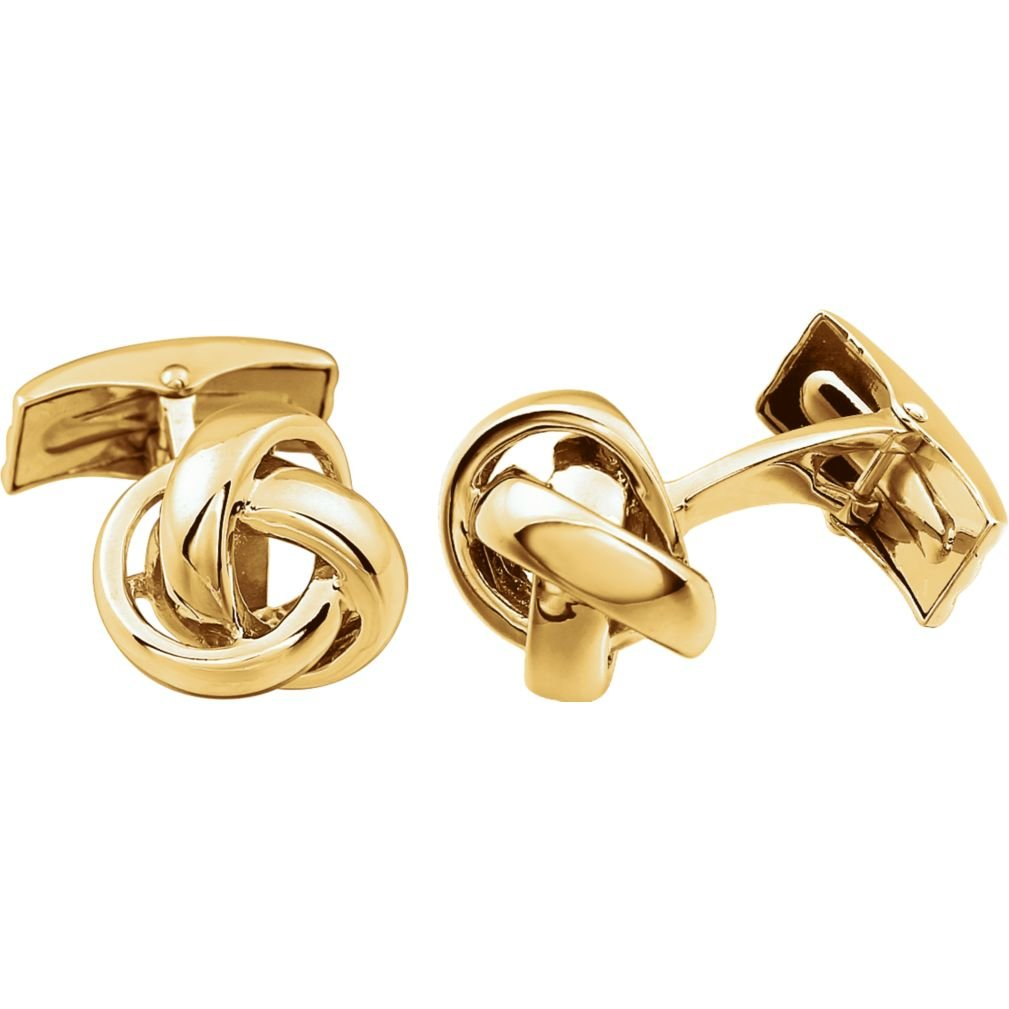 Love Knot High Polished 14k Yellow Gold Cuff Links, 14MM