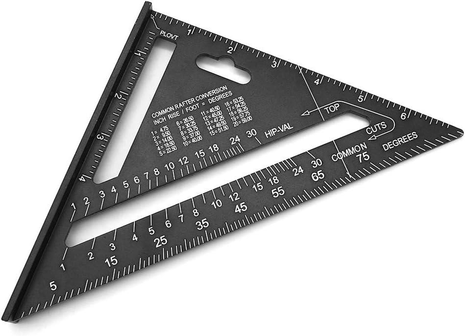 Mila-Amaz 7 Pulgadas Escuadra de Carpintero Regla Triangular Cuadrada de Aleaci/ón de Aluminio Herramienta de Medici/ón para Ingeniero Carpintero