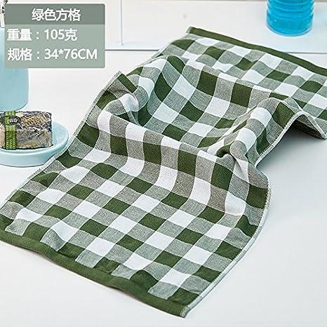 LSD-Plaid fubao gasas de algodón Toallas ablandar los amantes del hogar adulto toalla de baño toalla absorbente de agua 76x34cm,E: Amazon.es: Hogar