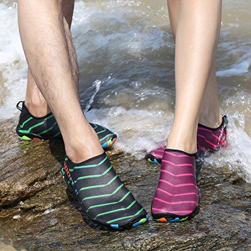 JACKSHIBO Herren Damen Aquaschuhe Badeschuhe Rutschfest Wasserschuhe Schwimmschuhe für Unisex Erwachsene Rosa
