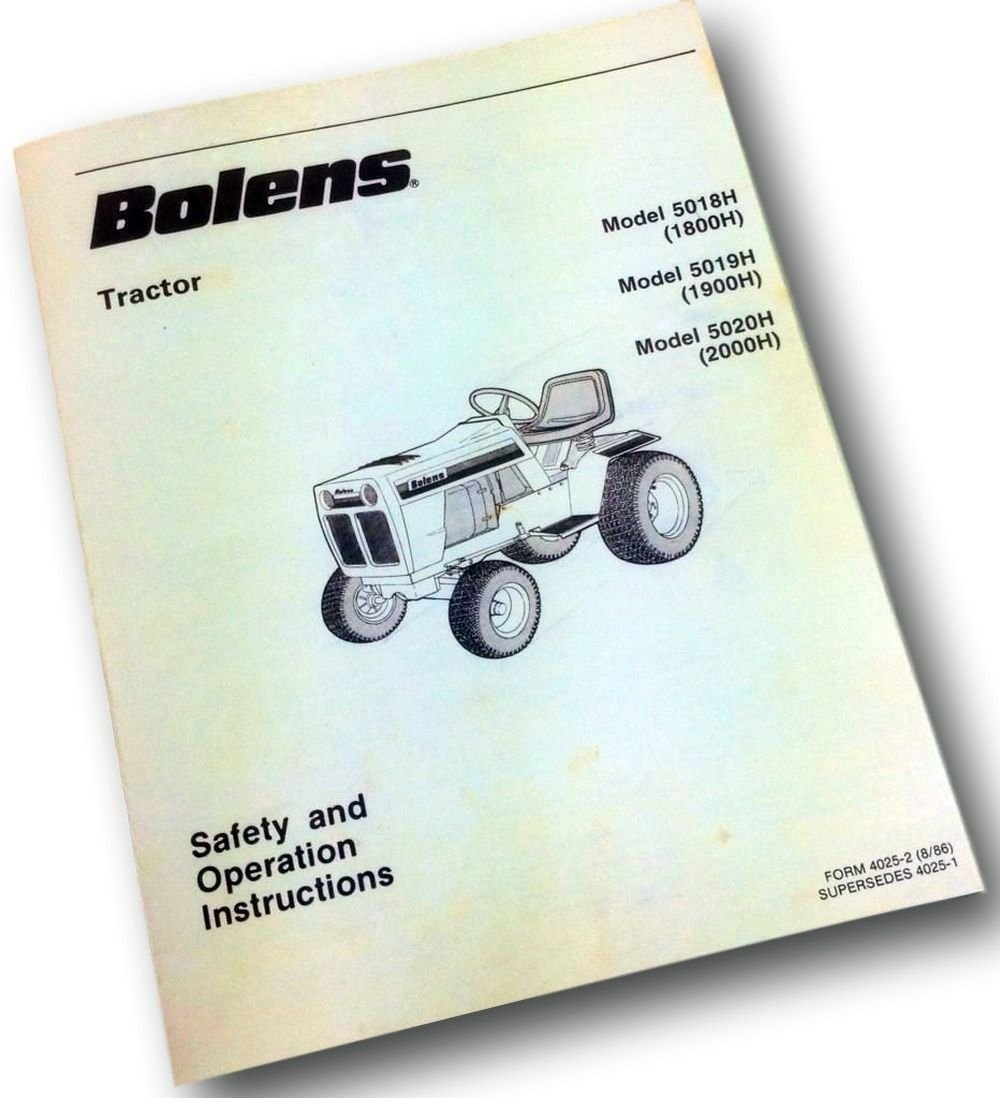 Amazon.com: Bolens Mower Garden Tractor 5018H 5019H 5020H Safety Operators Owners  Manual: Industrial & Scientific
