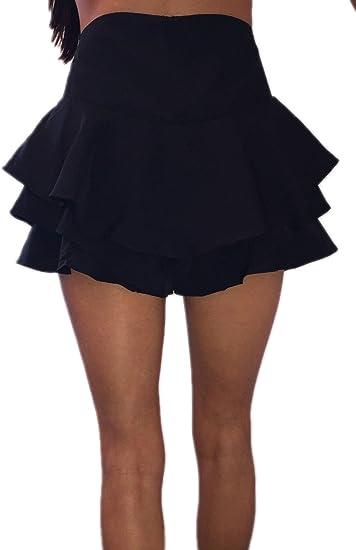 Mujeres Volantes Plisado Fruncido Falda De Cintura Alta Pantalones ...