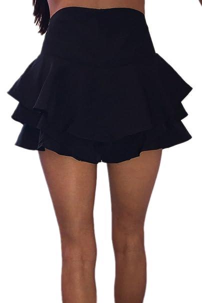 70164fba1 Mujeres Volantes Plisado Fruncido Falda De Cintura Alta Pantalones Cortos
