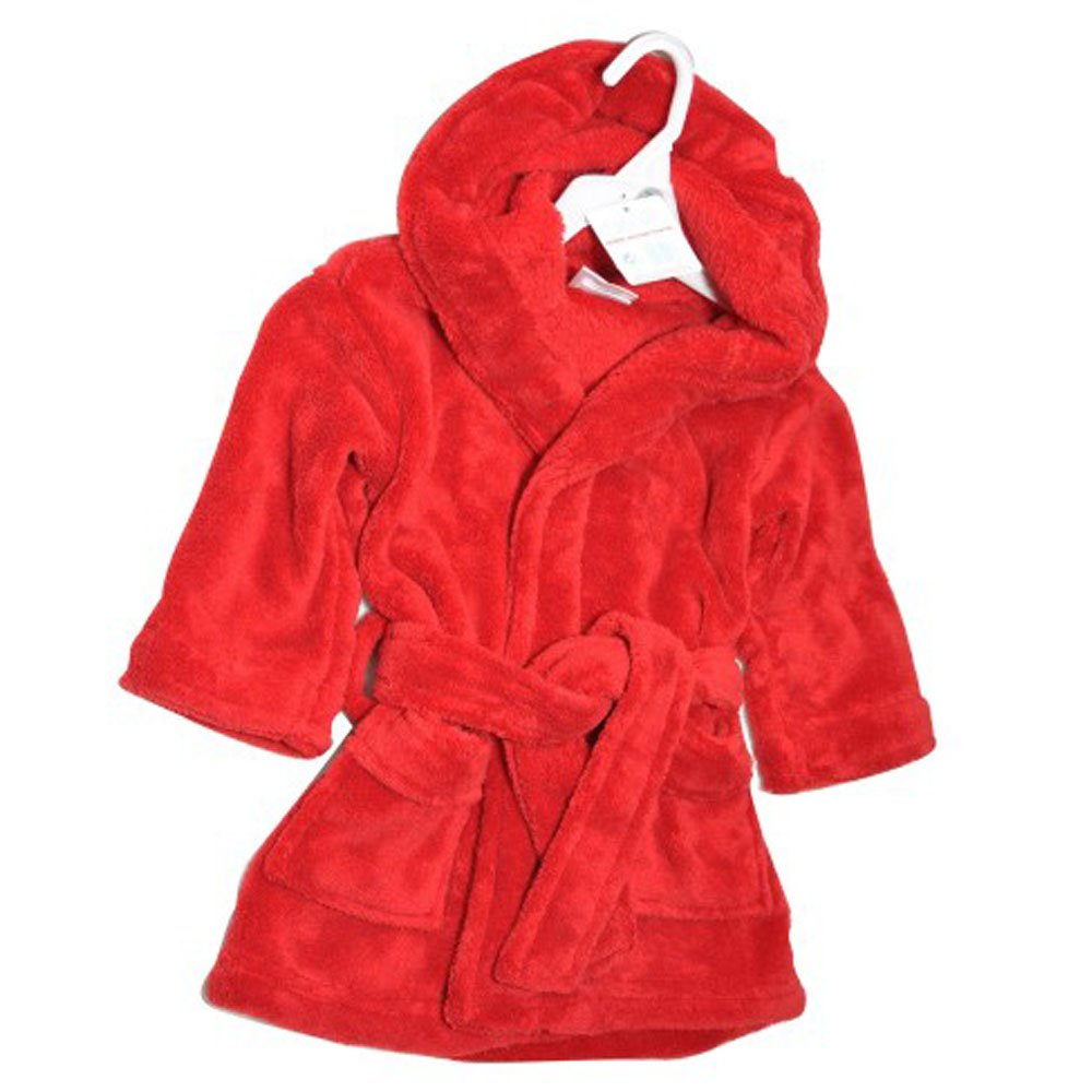 Super Soft Baby Fleece Bath Robe/Dressing Gown Red