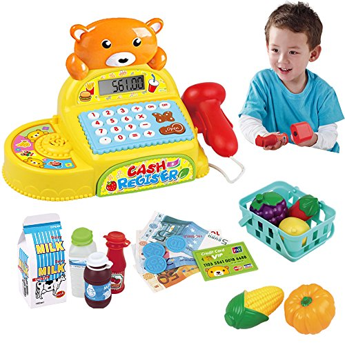 Cash Register Toy Electronic Calculator for Kids with Scanner, Pretend Play Food and Little Shopping Basket Grocery Play Set Math Teaching Age 3+ - Realistic Sound & Action