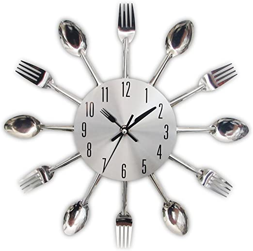 Amazon Com Timelike Kitchen Wall Clock 3d Removable Modern Creative Cutlery Kitchen Spoon Fork Wall Clock Mirror Wall Decal Wall Sticker Room Home Decoration Sliver Home Kitchen