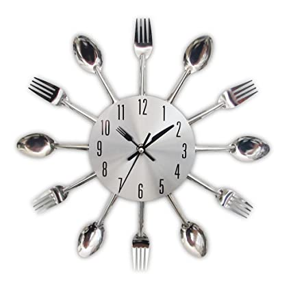Amazon.com: NEW New Modern Kitchen Wall Clock Sliver Cutlery Clocks Spoon Fork Creative Wall Stickers Mechanism Design Home Decor Horloge Green: Home & ...