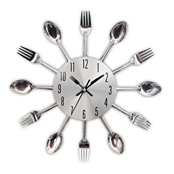 . Timelike Kitchen Wall Clock  3D Removable Modern Creative Cutlery Kitchen  Spoon Fork Wall Clock Mirror Wall Decal Wall Sticker Room Home Decoration