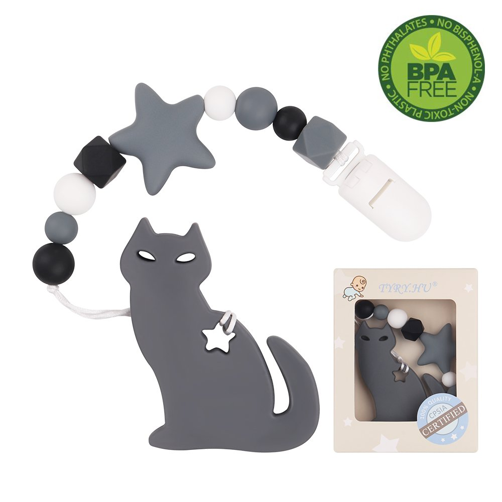 TYRY.HU Dentizione Dummy Clip Silicone Cat Teether con ciuccio Clip Holder Set per neonati Neonato BPA Free Shower regalo lanciando Pain Relief Handmade (grigio)