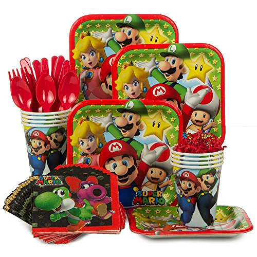 Costume SuperCenter Mario Bros. Standard Birthday Party Supplies Tableware Kit