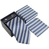 Men's Ties Set Cufflinks Handkerchiefs Gift Box Business Wedding Grooms Neckties