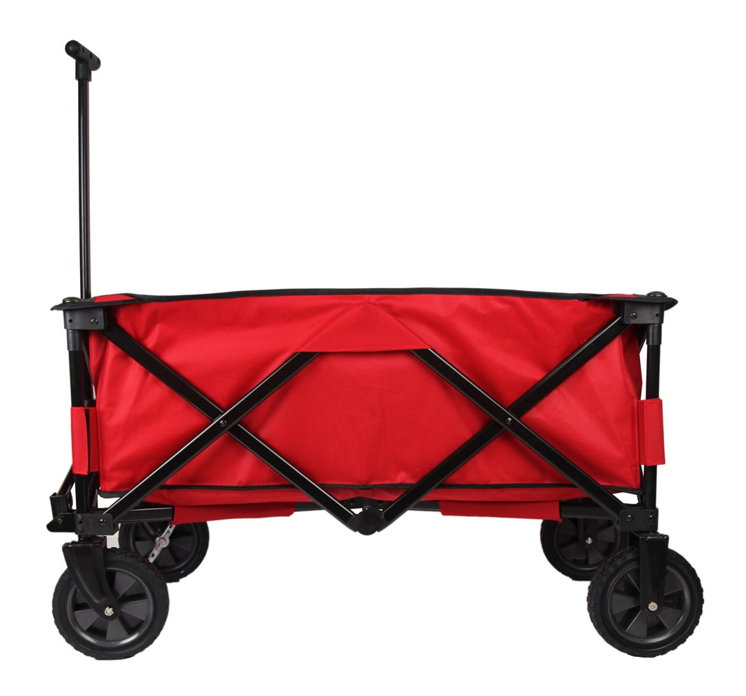 Patio Watcher Heavy Duty Collapsible Folding Garden Cart Utility Wagon for Shopping Outdoors , Red