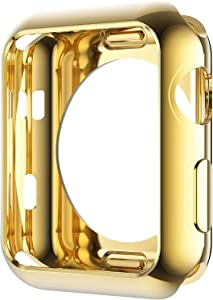 Leotop Compatible with Apple Watch Case 42mm 38mm, Soft Flexible TPU Plated Protector Bumper Shiny Cover Lightweight Thin Guard Shockproof Frame Compatible for iWatch Series 3 2 1 (Gold, 42mm)