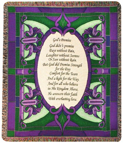 Manual Inspirational Collection Tapestry Throw, God's Promise Poem, 50 X 60-Inch (Glass Purple Depression)